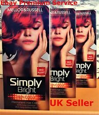 3 x MELLOR & RUSSELL SIMPLY BRIGHT RED ALERT PERMANENT HAIR COLOUR DYE