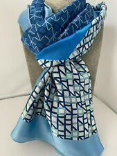 On Trend Blue Print Silky Scarf Beautiful Print 20% Silk pastel gift ladies Gift