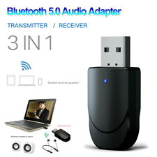 3in1 USB Bluetooth 5.0 Audio Transmitter Receiver Adapter for TV PC Car AUX