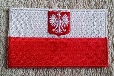 POLAND FLAG PATCH Embroidered Badge Iron Sew on 3.8cm x 6cm Polska Coat of Arms