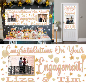 Large Personalised Engagement Banner Party Decorations Rose Gold Photo Backdrop