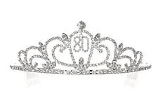 80th Eighty Eightieth Birthday Party Crystal Tiara Crown for Women - 9 Inch