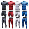 Mens Workout Compression Outfits Skin Tights Shirts Long Pants Shorts Sportswear