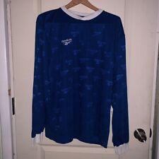 Vintage Reebok All Over Print Soccer Jersey Futbol Long Sleeve Blue White Emboss