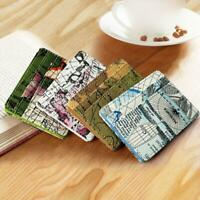 Mens Leather Wallet Slim Small ID Credit Card Holder Coin Purse RFID Map Printed