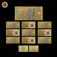WR 10pcs Zimbabwe 100 Trillion Dollars Banknotes Colorful Gold Note Collectible