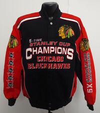 CHICAGO BLACKHAWKS LARGE JACKET G-III GIII NHL HOCKE MENS NEW 5 CHAMPIONSHIP