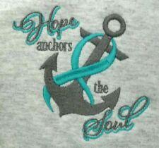 Teal Ribbon ANCHOR SOUL Sweatshirt 2X Breast Cancer Gray Grey Crew Neck New