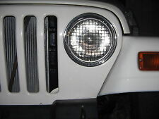 "7"" inch Flat Black Jeep wrangler TJ 97-06 head light stone guard grill covers"