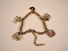 GOLD PLATED BRACELET WITH CRYSTAL ANIMAL CHARMS - CUTE