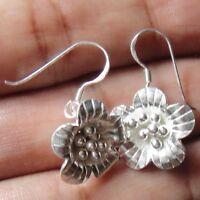Earrings White Pure Silver Flower Thai Design