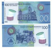 NICARAGUA 100 Cordobas POLYMER Banknote (2014) P-212 A Prefix Paper Money UNC