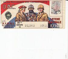 BILLET LOTERIE NATIONALE *UNION NATIONALE DES COMBATTANTS*1959 (TIMBRE MANET)