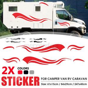 X2 Side MOTORHOME STRIPES -Camper Van Horsebox RV Sticker Caravan Decal Graphic