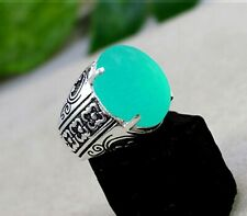 Solid 925 Sterling Silver Chalcedony Gemstone Designer Mens Ring Size 6 to 14