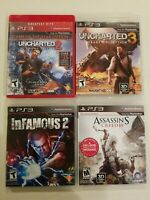 PS3 INFAMOUS 2 UNCHARTED 2 G.H.E. & 3, ASSASSINS III COMPLETE VG ACTION FREE S/H