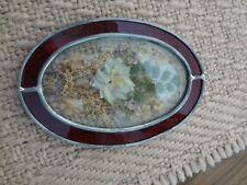 Vintage Pressed Flowers Floral Design Beveled Lead Glass Sun Catcher