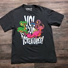 Volcom Creatures T-Shirt Sz Small Huge Snake Dinosaur Print Surfer Skater B21