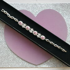 """Beautiful Bracelet With Pink Kensite White Gold Plated 11 Gr. 7"""" Inc.Long In Box"""