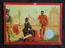 ancienne planche de loto et 7 jetons chromo pour compléter un jeux fin XIX ème