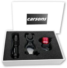 gift box CARSONS front zoomable & rear red ruby LED bike alloy lights set kit UK