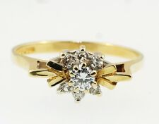 9ct Yellow Gold Round Diamond (0.20ct) Cluster Ring (Size L) 7x12mm Head