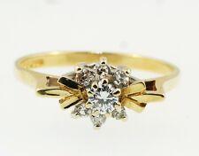 9ct Oro Giallo Diamante Rotondo 0.20ct Anello A Grappolo Misure L 7x12mm Testa