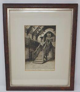 ANTIQUE FRAMED PRINT OF CANYNGE HOUSE BRISTOL Signed - Cyril L Skinner