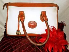 Vintage Dooney & Bourke Handbag White Pebble leather & Tan Strap Satchel