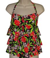 Island Escape black red floral bandeau tankini top size 6 swimsuit new