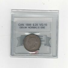 **1886 Normal 6, SBE Obv#4**, Coin Mart Graded Canadian, 25 Cent, **VG-10**
