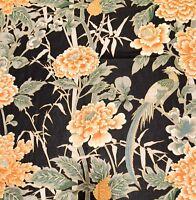 """Vintage """"Siamese Garden"""" WAVERLY Fabric Floral Bird Navy Green Orange 2.5 Yd"""