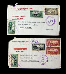 HONDURAS 1937 SET OF 2 AIRMAIL COVERS W/ 7v FROM TEGUCIGALPA TO GERMANY