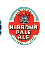 Vintage original Higson's Pale Ale beer bottle label, 1954.