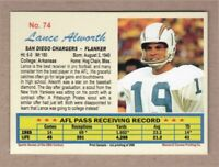 Lance Alworth '65 San Diego Chargers Monarch Corona 20th Century #74 mint cond.