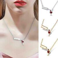 Frauen Herz Weinflasche Tasse Halskette Kette Anhänger Charme Schmuck N8I4 H8Q6