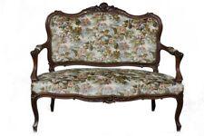 Banquette en noyer de style Louis XVI recouvert tissu imprimé fleurs