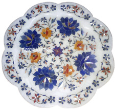 """12"""" Marble White Round Plate Real Lapis Gems Marquetry Inlaid Home Table Decor"""