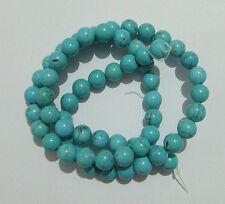 60pz/filo perline pietre in howlite naturale 6mm colore turchese bijoux