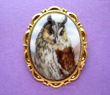 OWLS Pretty Porcelain Great Horned OWL CAMEO Costume Jewelry Pin Brooch Pendant