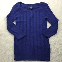 American Eagle Women's Size XS Pullover Sweater Blue Thin Knit 3/4 Sleeve