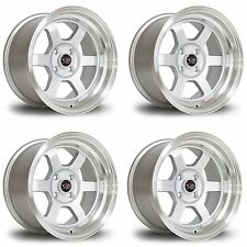 4 x Rota Grid-V Silver / Polished Lip Alloy Wheels 15x7"