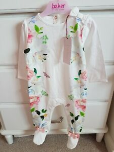 BNWT Ted Baker Baby Girl Floral Sleepsuit Age 6-9mths