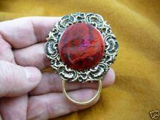 (#E748) Red Paua sea shell Eyeglass pin pendant ID badge holder