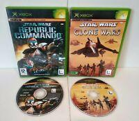 Lot 2 jeux Star Wars Republic Commando & Clone Wars XBOX Classic Pal Fr Bon état