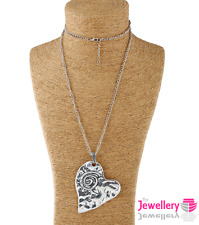Large hammer effect metal heart pendant and long curb chain necklace silver