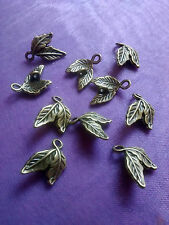 10 X Lindo Doble Hoja Bronze Charms 2 agujero Conector 15 Mm x 11 mm Pagano Wicca
