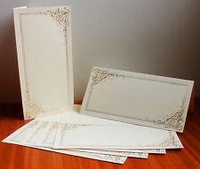 Kanban 10 DL Luxury Gold Foiled Elegant Swirl Ivory Wedding Party Card Blanks