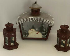 Christmas Hanging Lantern Holiday Snowmen Votive  Candle Holder Metal New