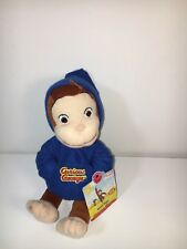 MARVEL TOYS CURIOUS GEORGE 2005 BEANBAG BLUE HOODIE JOGGER MONKEY PLUSH 8""